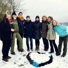 Hartdag in de sneeuw