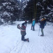 Margreet in de sneeuw